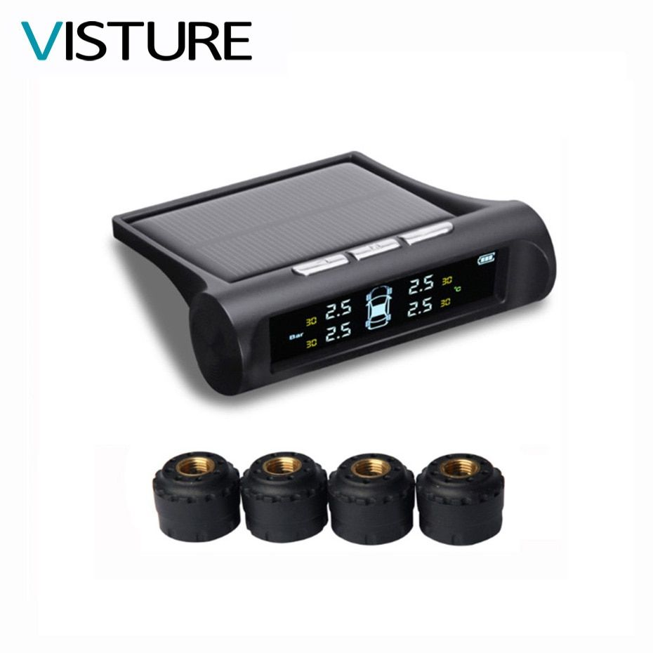 Visture Solar Power TPMS Car Tire Pressure Alarm Monitor System LCD Display 4 External Sensor Temperature Sensor T01C