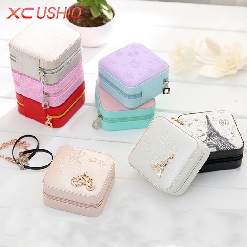 Portable Women Jewelry Box Travel Jewellery Organizer Case PU Leather Jewelry Ring Earring Necklace Storage Box Birthday Gift