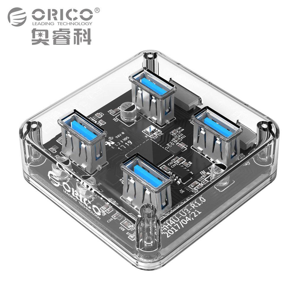 ORICO Transparent 4 Ports USB 3.0 HUB für Desktop/Laptop mit 30/100 CM Datenkabel Unterstützung Externe Micro USB Stromversorgung