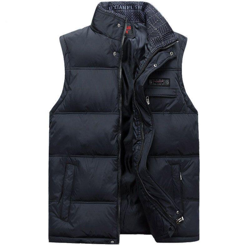 2017 Men's Sleeveless Vest Homme Winter Casual Coats Male Cotton-Padded Men's Warm Vest Photographer Men Waistcoat Plus size 4XL