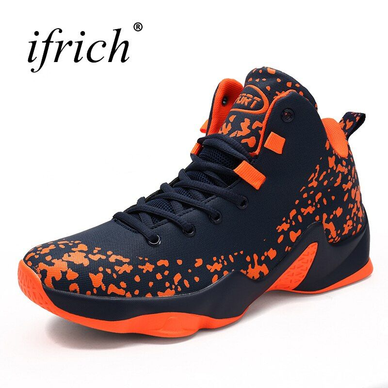 2017 Hot Sale Big Size Basketball Shoes Male Size 39-46 High Men Lace Up Stability Basketball Sneakers Men Red/Orange Trainers