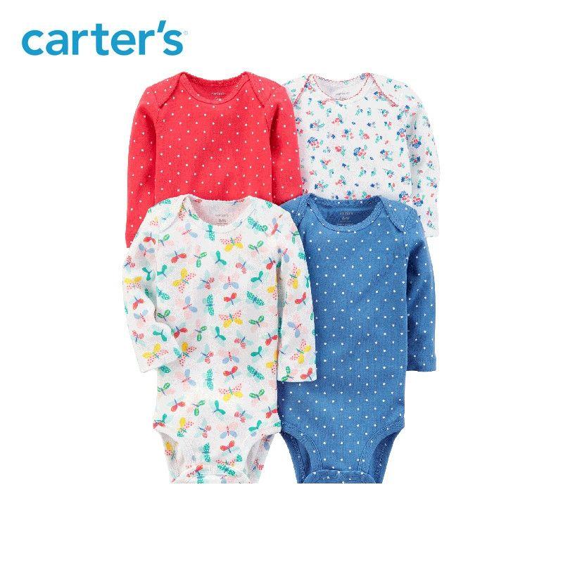 Carters 4pcs Baby girl bodysuit long sleeve sweet prints bodysuits Cotton newborn baby clothes sets All Seasons 126H316