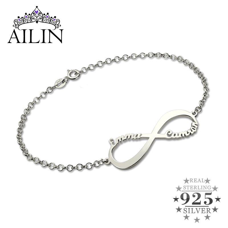 Infinity Name Bracelet Personalized Brand Name Bracelet Infinity Symbol Sterling Silver Customized Name Bracelet for Women