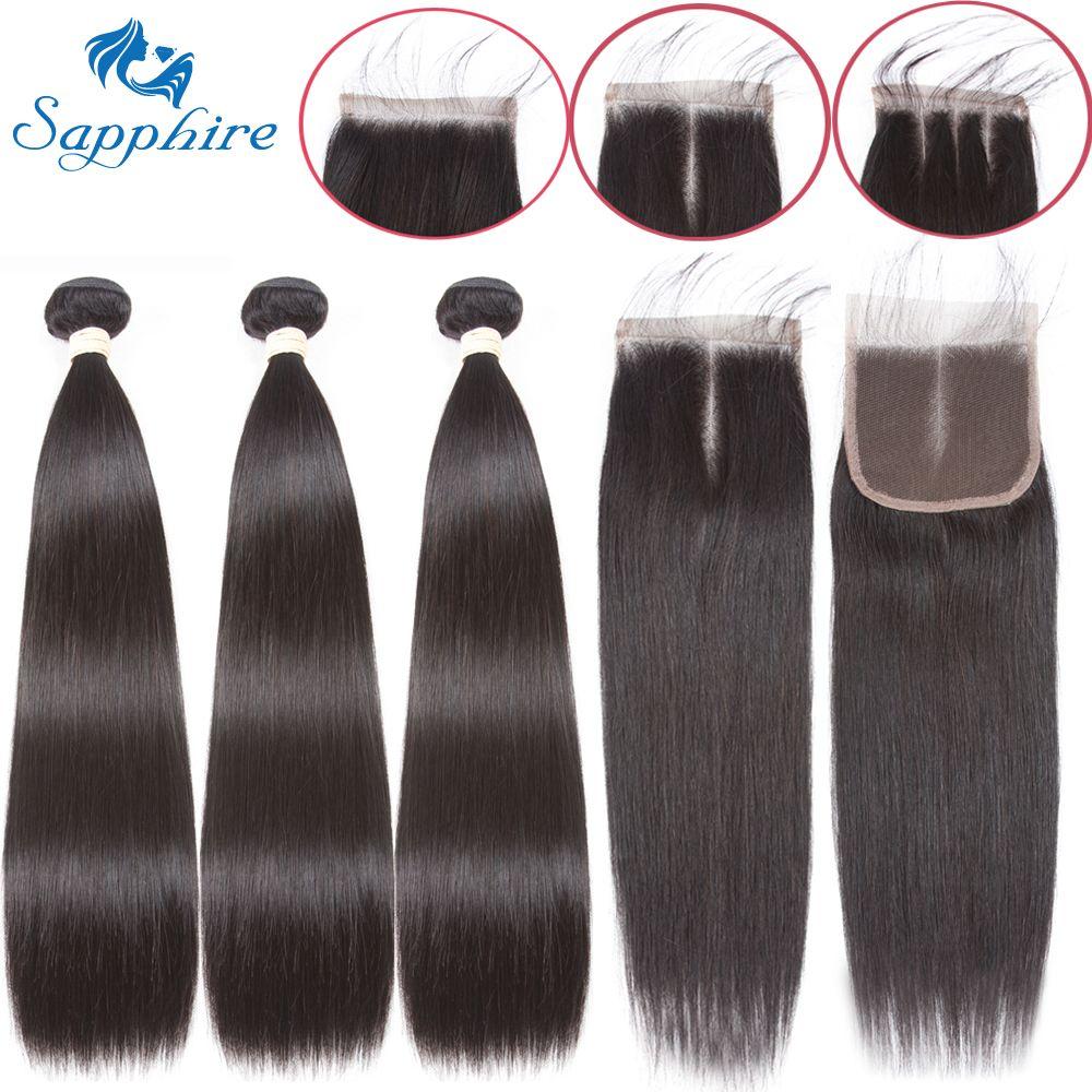 Paquets droits de saphir avec la fermeture paquets brésiliens d'armure de cheveux avec la fermeture paquets de cheveux humains avec l'extension de cheveux de fermeture
