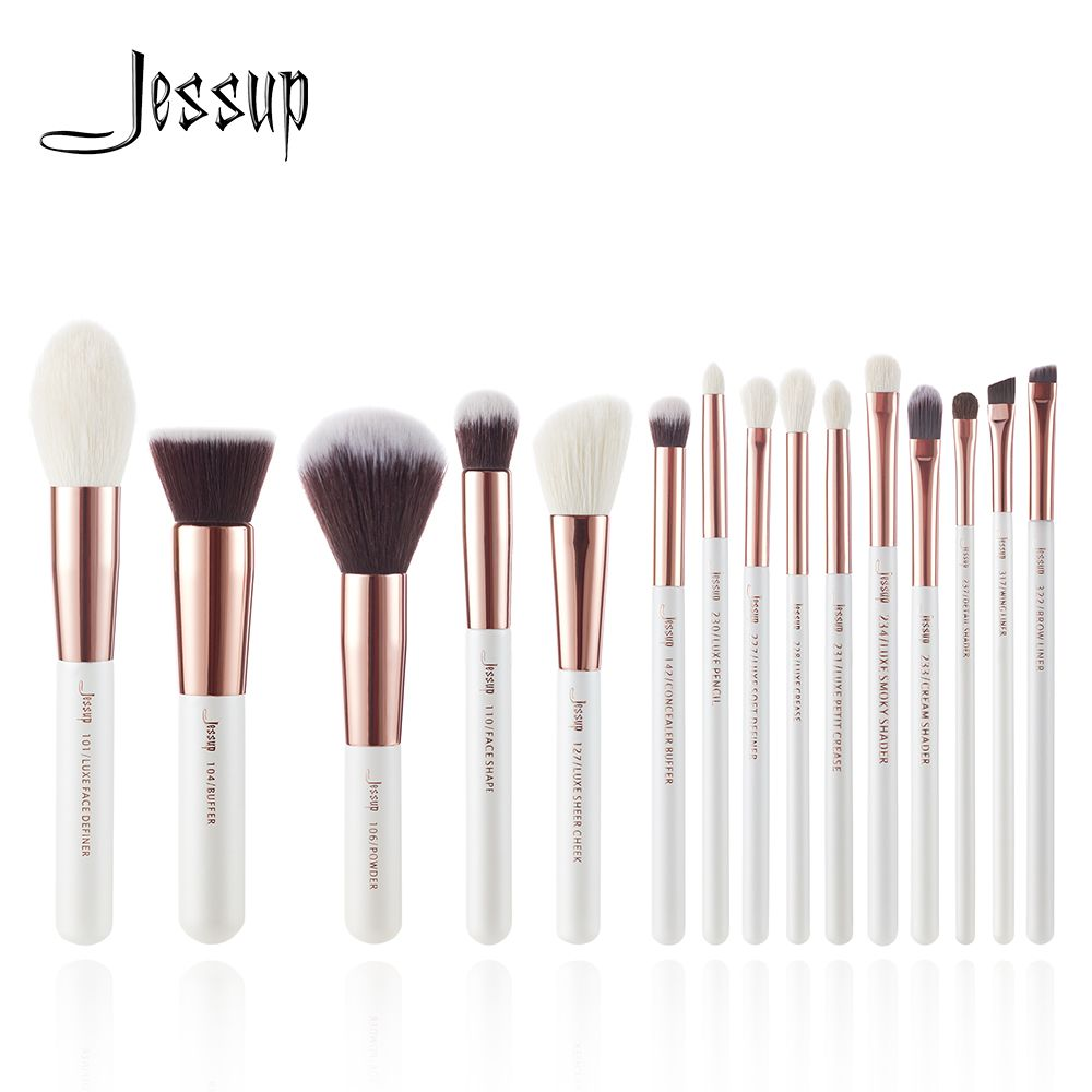 Jessup brushes Pearl White / Rose Gold Professional Makeup Brushes Set Make up Brush Tool Foundation Powder Definer Shader Liner