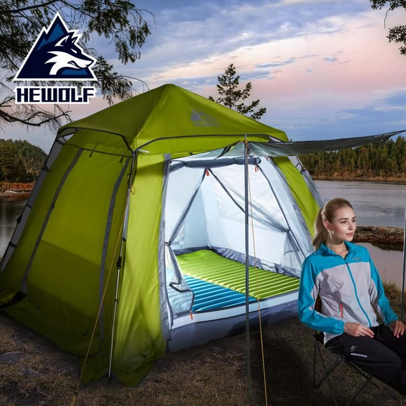 Hewolf Outdoor 3 4 Person Awning Tent Beach Family Camping Tent Stainless Steel Bracket Party Pergola Tourism Automatic Tents