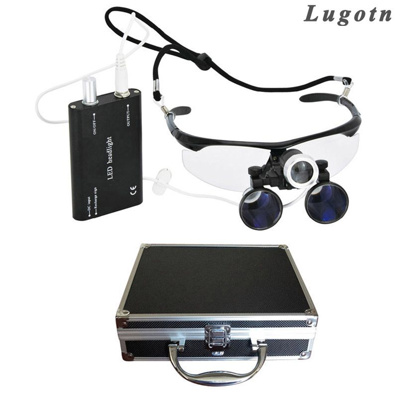 Metal box 3.5X magnification oral dental loupe with led medical headlight operation loupe surgical enlarger clinical magnifier