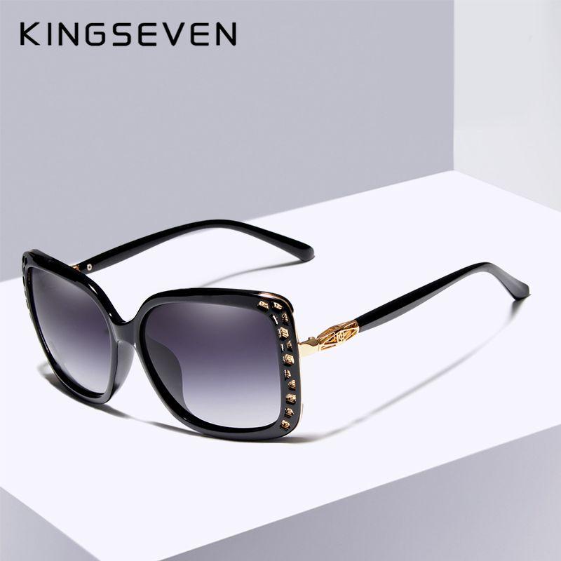 KINGSEVEN 2019 nouvelles femmes marque de mode Designer lunettes de soleil ovales papillon cadre été dégradé lentille lunettes de soleil rétro K7215