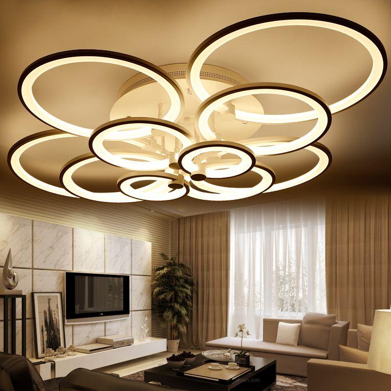 Ringe weiß fertig kronleuchter LED kreis moderne kronleuchter lichter für wohnzimmer acryl Lampara de techo innen Beleuchtung