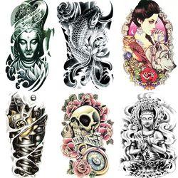 19x12 cm menor pegatinas tatuaje femenino impermeable belleza original simulación retro flor búho Wolf Totem Buda armas pintura