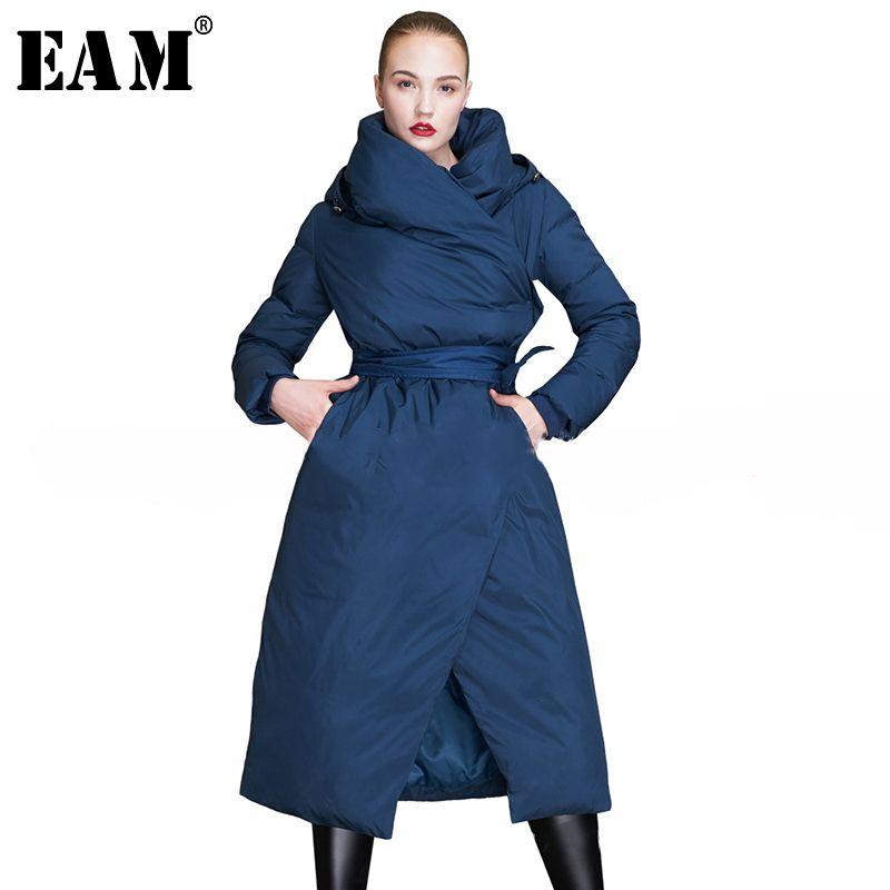 [EAM] Hohe Qualität 2019 Winter Mode Neue frauen Einfarbig Mit Kapuze Verstellbare Taille Spitze Up Persönlichkeit Lange warme Jacke LA994
