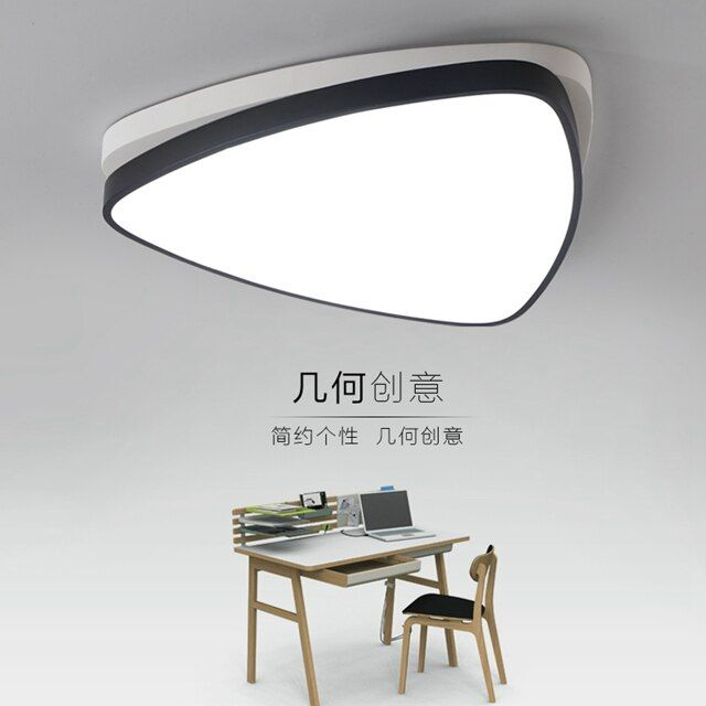 Modern triangle LED panel surface mounted ceiling lamp White/Black bathroom lighting AC110-240V luminarias para