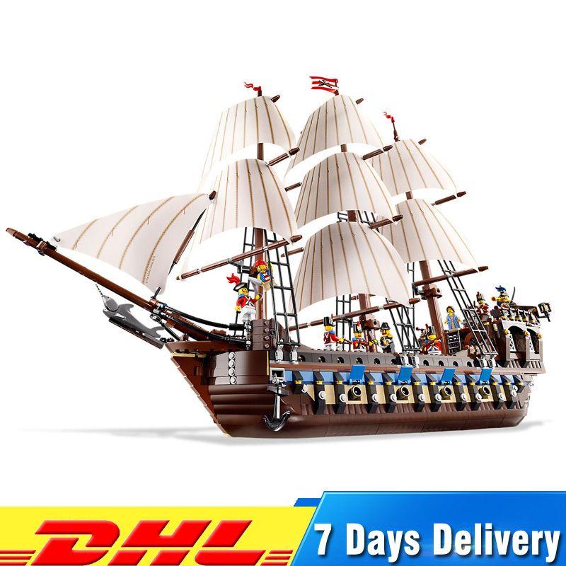 1717 pièces Bateau Pirate Imperial Navires de Guerre Modèle blocs de construction Briks jouets éducatifs pour Enfants Cadeaux Compatible Avec légèreté 10210