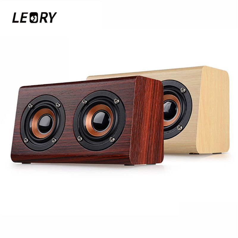 LEORY W7 New Arrival Bluetooth Speaker Subwoofer Dual Loudspeaker 1500mAh Wooden Computer Speaker with Microphone