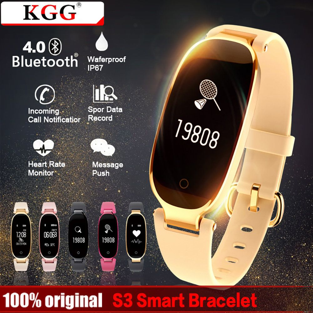 KGG S3 Fashion Smart Band Bracelet Girl Women Heart Rate Monitor Wrist Lady Female Fitness Tracker Wristband for Android IOS