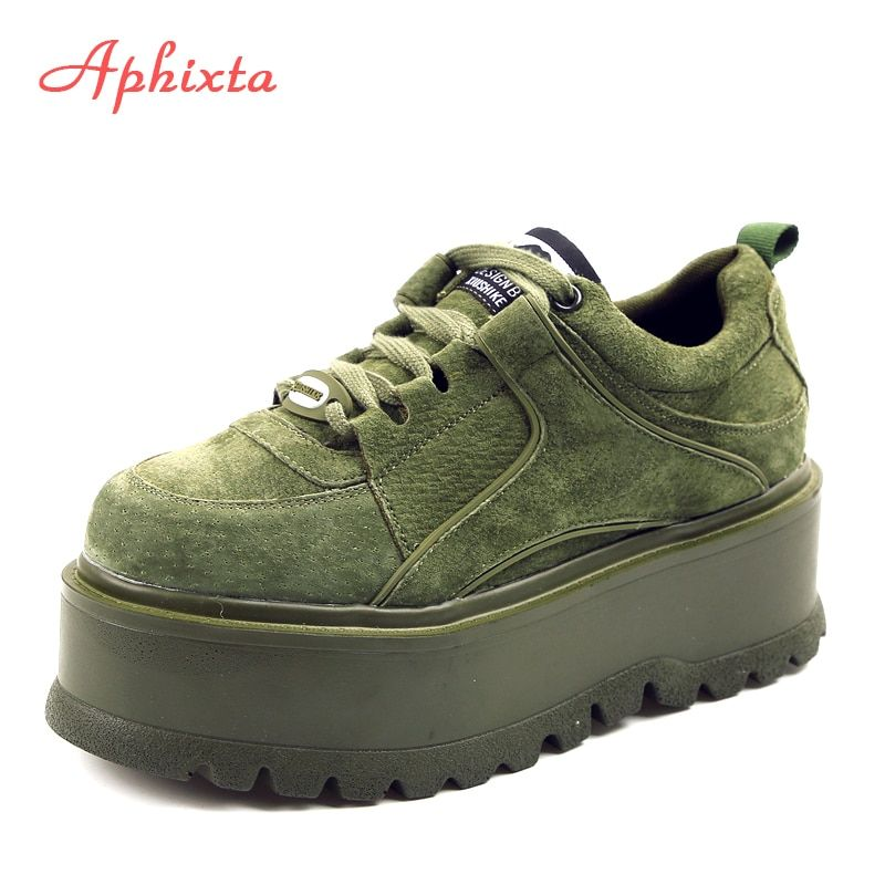 Aphixta Platform Lace-up Ankle Winter Shoes Women Boots High Quality Height Increasing Ladies Shoes Cow Suede Down Fashion Boot