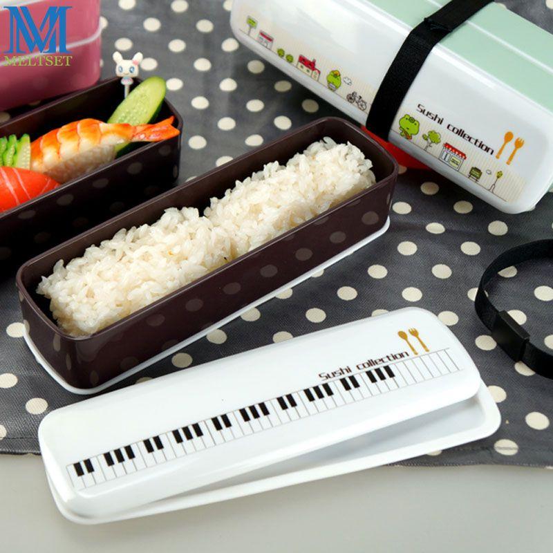 Двухслойные мини-Бенто-Ланч японский стиль суши коллекция посуда набор пластиковых пищевых контейнеров