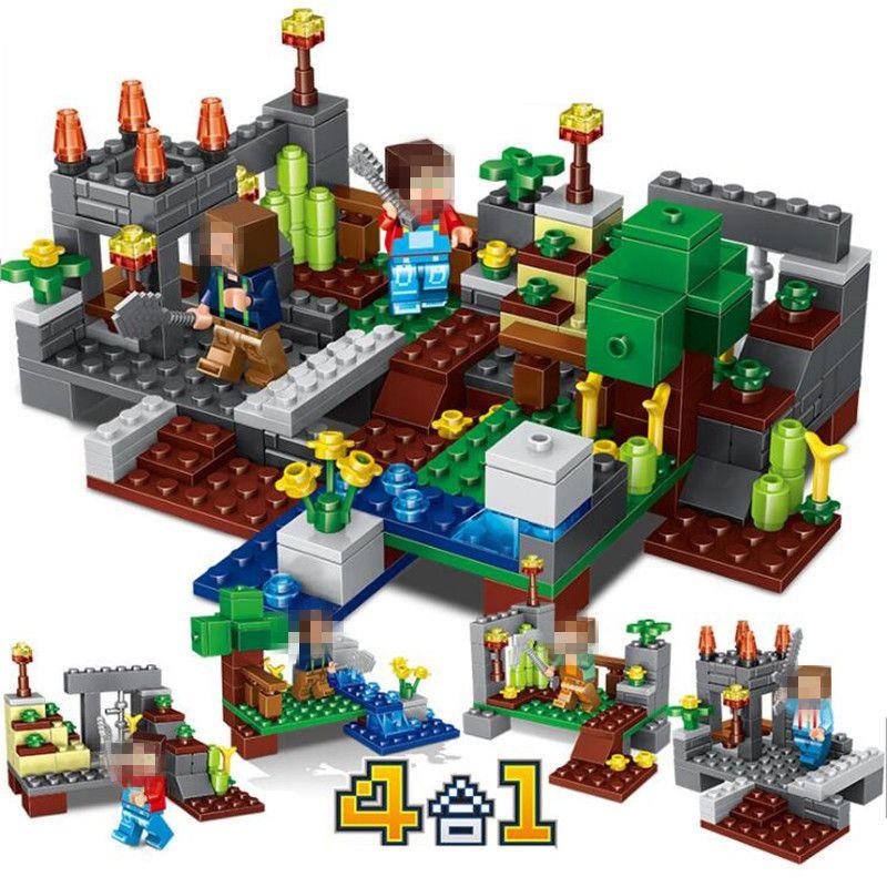 Mon monde Minecrafted chiffres ville blocs de construction 4 en 1 briques à monter soi-même Legoed Minecraft ville éducative éclairer les enfants jouets