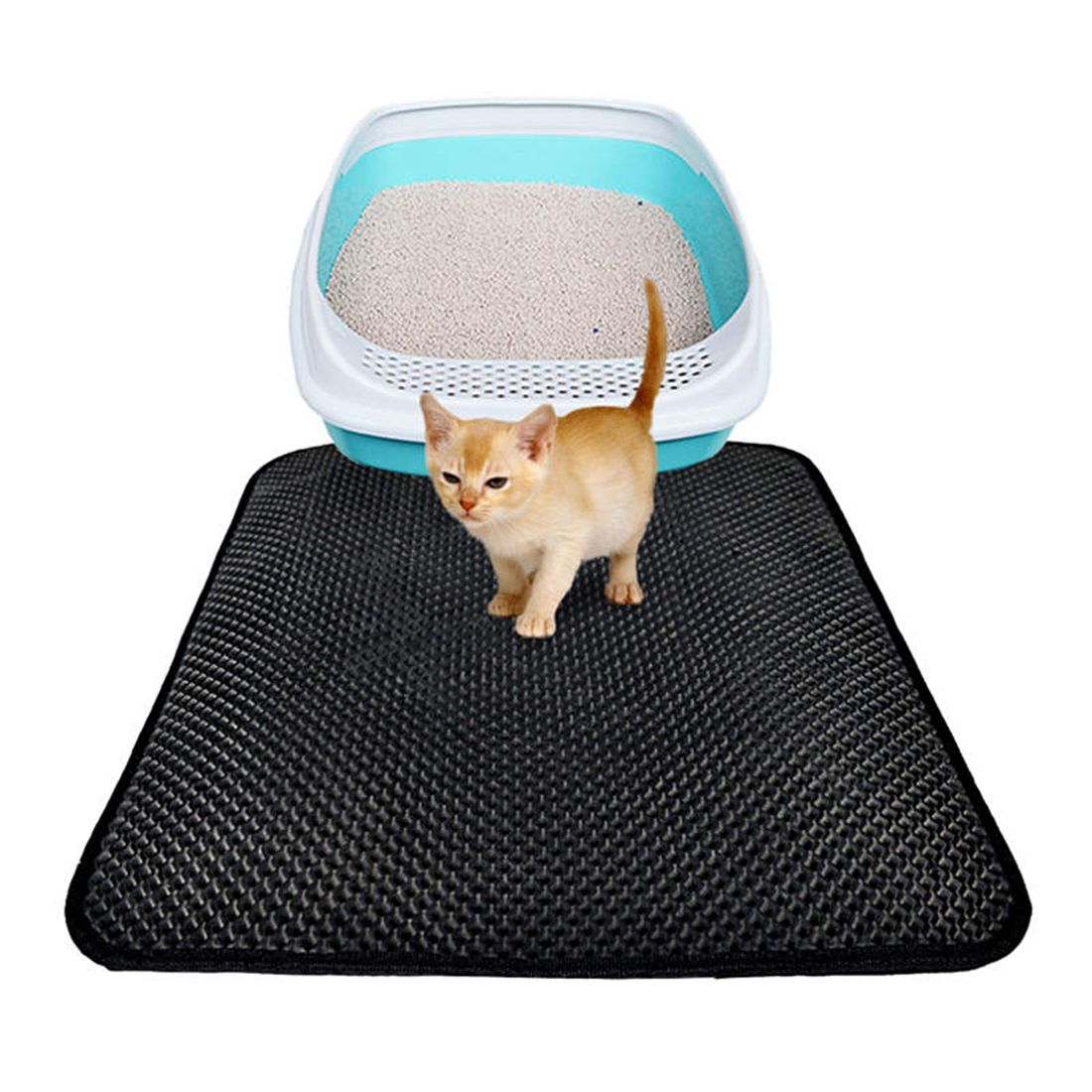 Petforu 46*60CM Non-slip EVA Cat Litter Mat Household Pet Litter Trapper <font><b>Catcher</b></font> Mat - Black