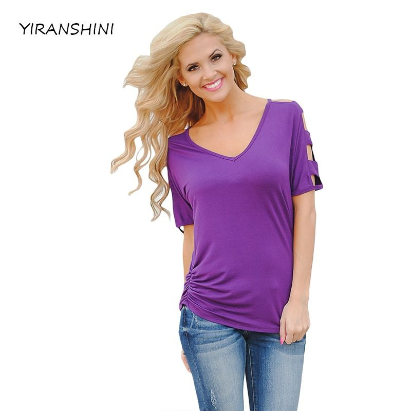 YIRANSHINI Mode Purpel Partie Sexy Lady Manches Courtes Col Rond Imprimé Floral Casual Club Femmes T-shirt LC250067