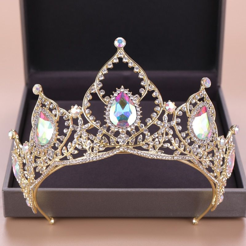 DIEZI Baroque Luxury Bridal AB Crystal Crowns Tiara Bride Gold Headband Wedding Diadem Queen Crown Princess Hair Accessories