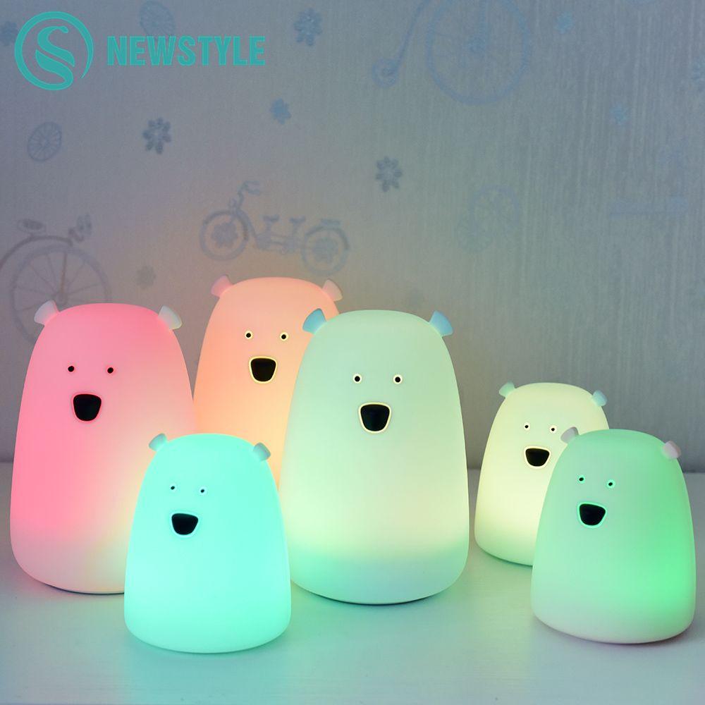 7 couleurs ours LED USB enfants Animal veilleuse Silicone doux dessin animé bébé pépinière lampe respiration LED nuit lampe cadeau à