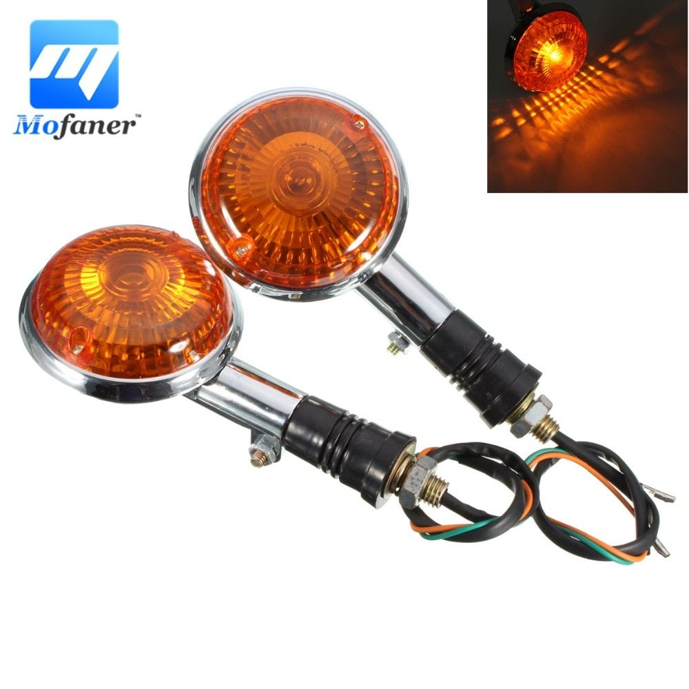2PCS Amber Lens Motorcycle Turn Signal Indicator Front Rear Flasher Blinker Light For Yamaha Virago Maxim V-Max