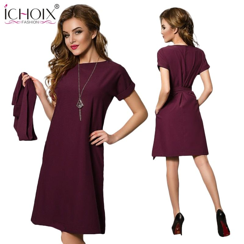 Été nouvelles femmes en mousseline de soie robe de grande taille 2019 lâche grande taille élégant bureau dames robes de mode décontracté à manches courtes avec ceinture