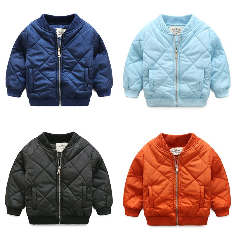 Hot Sale 2018 Fall Winter Boys Wadded Jacket Children Standing Collar Solid Cotton-Padded Coat Baby Kids Clothes Outerwear X164