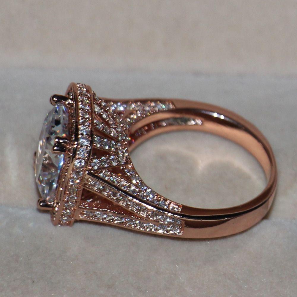 Luxury 192 pcs Tiny AAA CZ Women Fashion Jewelry Princess 925 Silver Simulated stones Rose gold Wedding band Ring Gift Size5-11