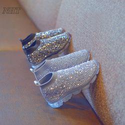 Incroyable de luxe strass bottes pour filles slip-sur enfants chaussures élastique silhouette air semelle confortable enfants chaussures