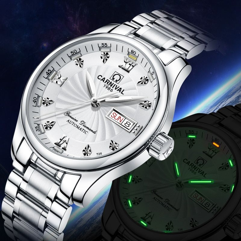CARNIVAL Classic Tritium Men Automatic Mechanical Watches Luminous Stainless Steel Waterproof Calendar Men Watches montre homme
