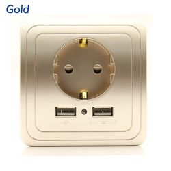 Золото, серебро, золото, best Dual USB Порты и разъёмы 2000mA стены Зарядное устройство адаптер ЕС розетка Мощность Outlet Панель