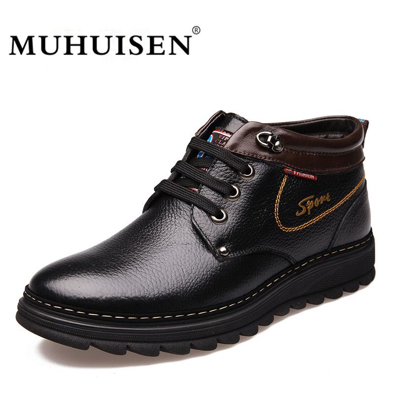 MUHUISEN Brand Winter Men Genuine Leather Shoes Fashion Warm Working Plush Ankle Boots Casual Lace Up Flats Male Snow Boots