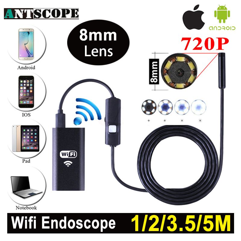 Antscope 1m 2m 5m Wifi Endoscope Camera Android 720P Iphone Borescope Waterproof Camera Endoscopic Android iOS Boroscope Camera