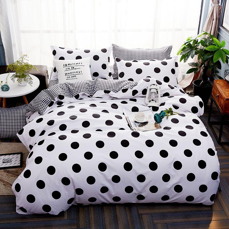 Noir et blanc beddling ensemble d'été lit kit linge vert feuille, taie d'oreiller et housse de couette Moderne literie 3/4 pcs lit ensemble
