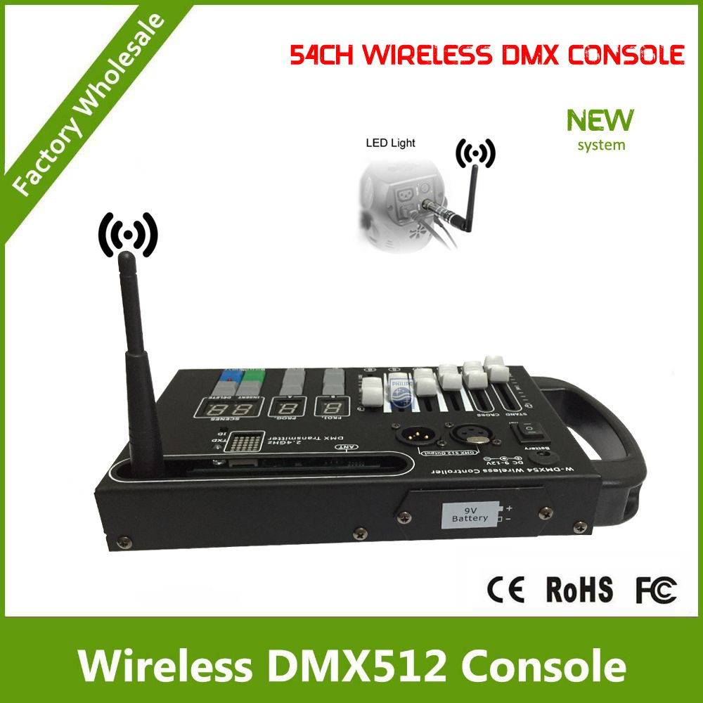 DHL Free Shipping 54CH wireless controller with wireless dmx transmitter with 9V battery powered or 12V DC