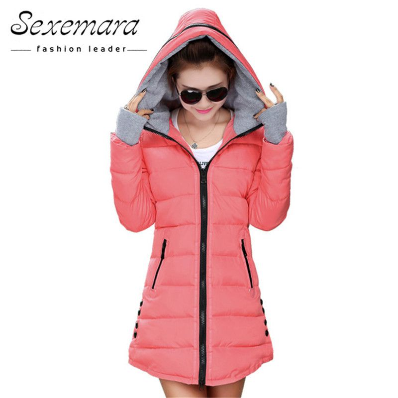 12 Colors Women Plus Size Female Hoodie Hooded Autumn Winter <font><b>Long</b></font> Sleeve Down Parka Slim Casual Quilted Chaquetas Jacket Coat