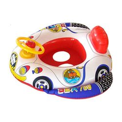 Cute Baby Swimming Accessories Funny Shape Inflatable Pool Float Baby Swimming Ring Seat with Steering Wheel for Swimming Random