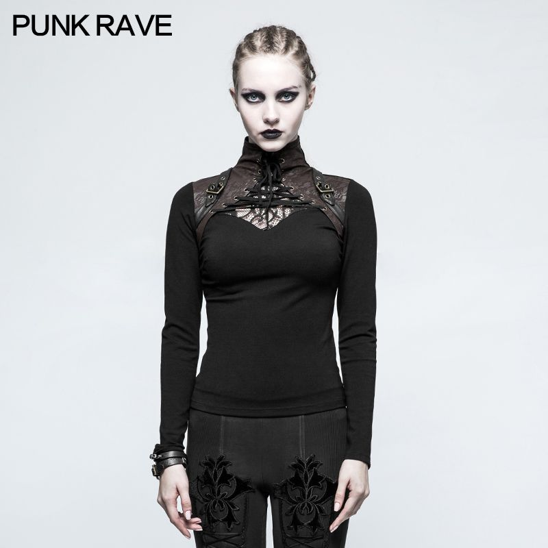 2017 Punk Rave New fashion women's black Visual kei Gothic Steampunk Long Sleeve T-shirt T476