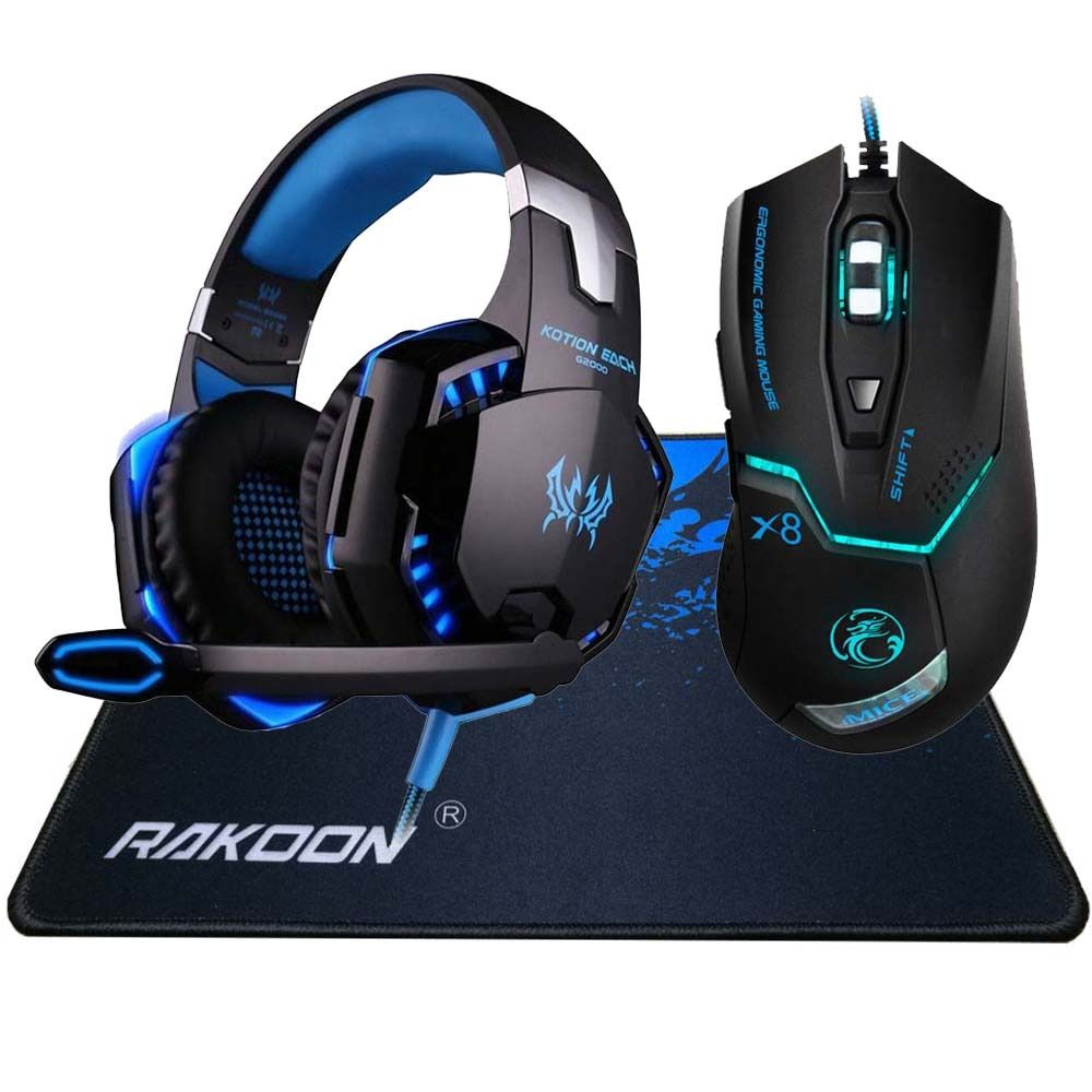 3200DPI 6 Button Wired Pro Gaming Mouse Optical Gamer Mouse+ Hifi Pro Gaming Headphone Headset+Gaming Mouse Pad Gift