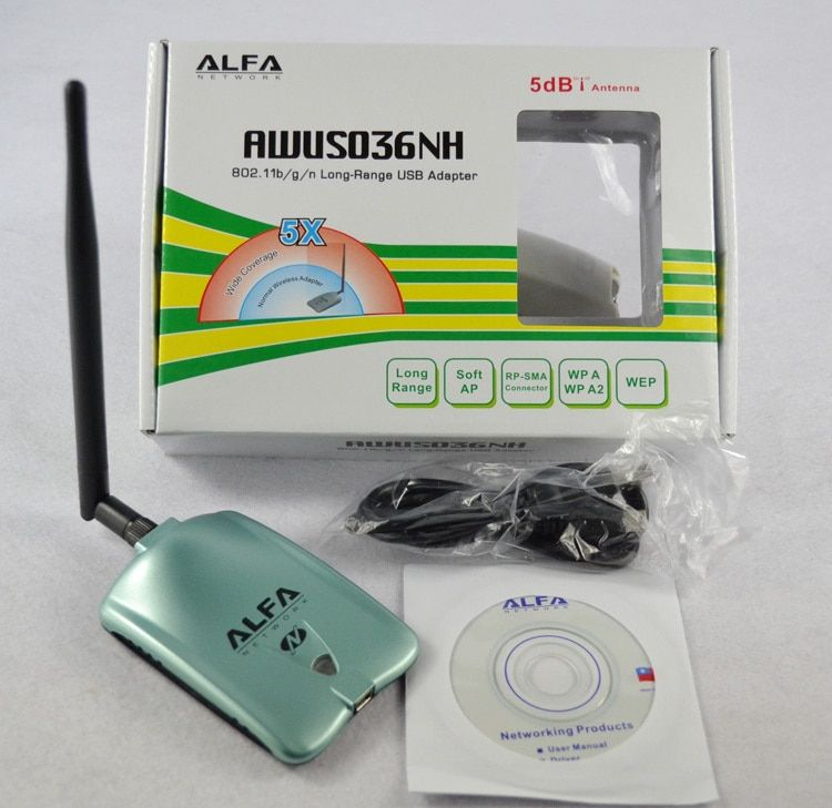 Alfa AWUS036NH сети Ralink 3070l Wi-Fi сетевой карты 2000 МВт Alfa Беспроводной Wi-Fi usb-адаптер с 5dbi anenna 1 компл.