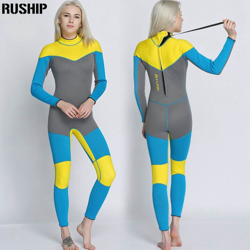 SEAC 3mm quality women Elastic Tight neoprene Diving suit wetsuit color stitching Surf Equipment Jellyfish clothing long sleeved
