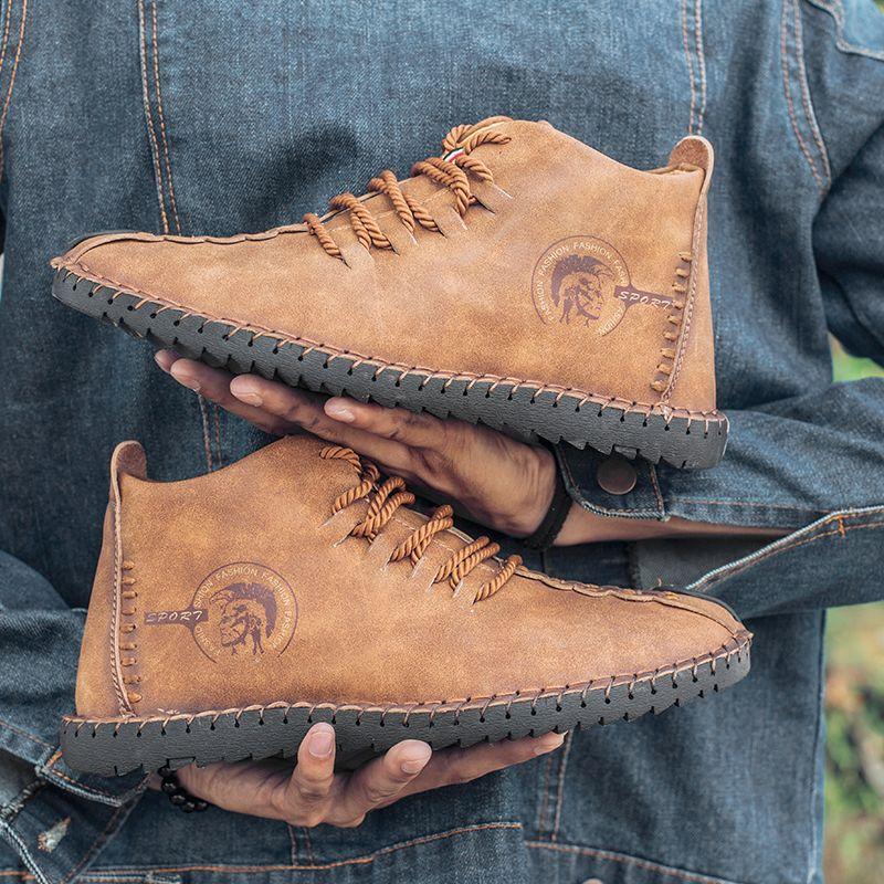 Hommes Bottes D'hiver En Cuir Haute hauts bottes de neige Homme Appartements mocassins Mocassins bottes militaires zapatos chaussures de conduite