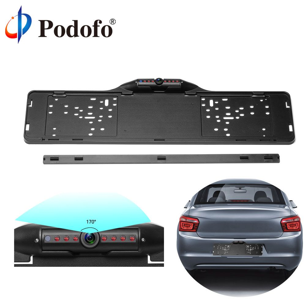 Podofo European Car License Plate Frame Rear View Camera 170 Degree Night Vision Waterproof of Reversing Camera Parking Assist