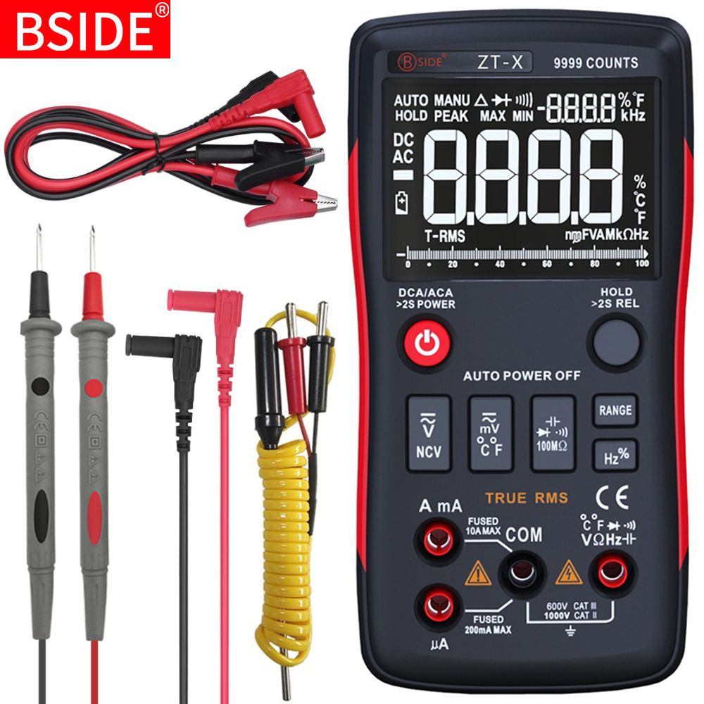 BSIDE ZT-X Digital Multimeter True RMS 9999 Counts 3 Lines Display Multimetro DMM DC/AC Voltmeter Ammeter Ohm HZ Temp Tester