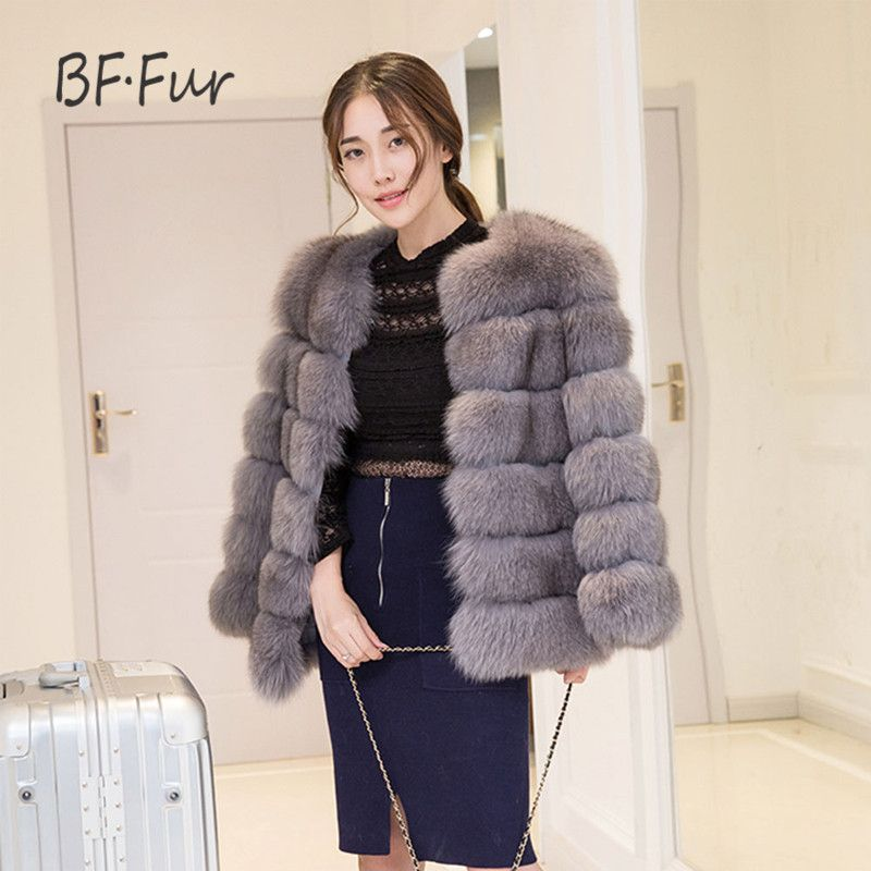 BFFUR Real Fur Coat 100% Real Fox Fur Coat Overcoat Winter Warm Genuine Leather Fur Jacket Short Style Women Jacket Coat F-04-6