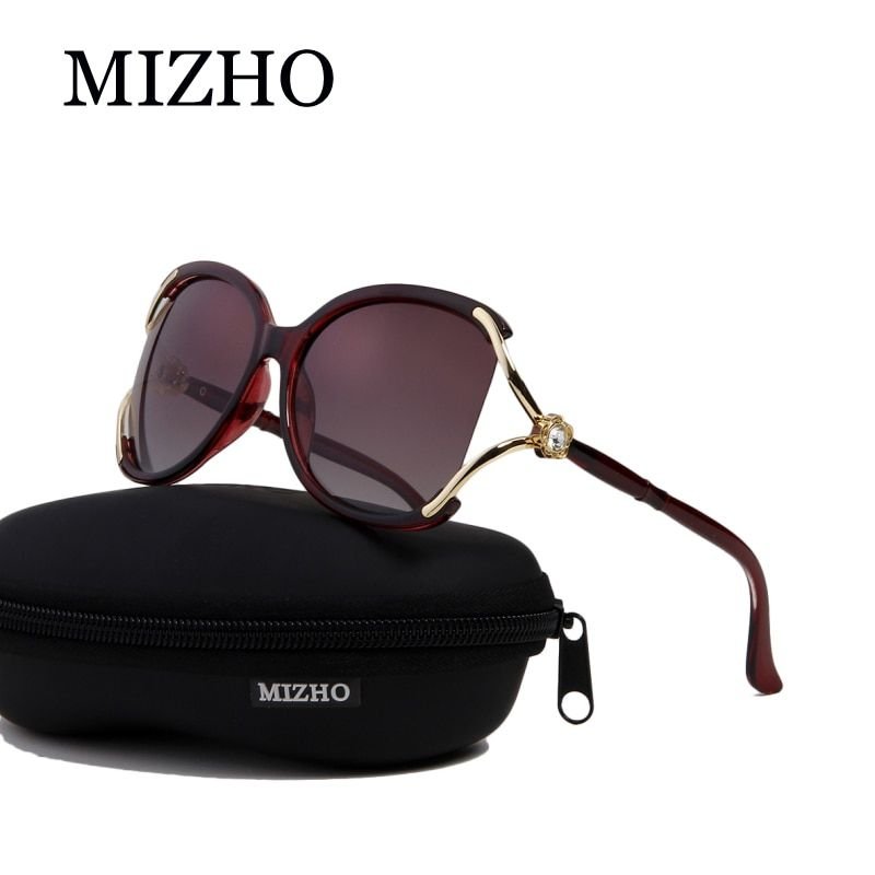 MIZHO 2018 Luxury Solarized Somen Vidrio Sunglasses Women Polaroid UV Protection Original Diamond Pattern Brand Design Colored