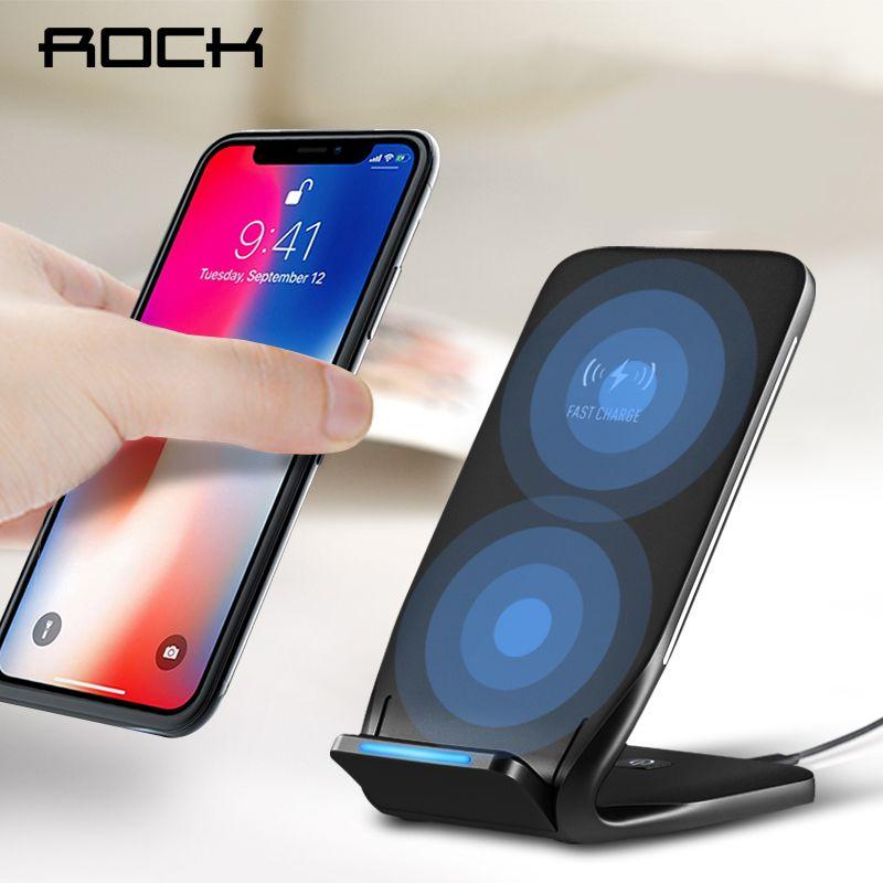 ROCK Double Bobine Qi Sans Fil Chargeur Chargeur 10 W pour iPhone 8 10 X Samsung Note 8 Téléphone Rapide De Charge Pad Accueil Dock Station