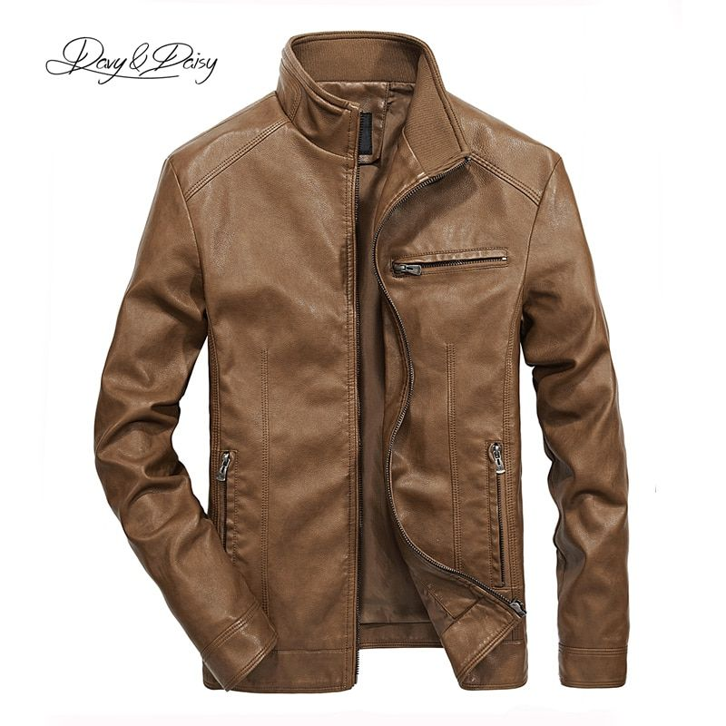 DAVYDAISY 2019 High Quality PU Leather Jackets Men Autumn Solid Stand Collar Fashion Men Jacket Jaqueta Masculina 5XL DCT-245